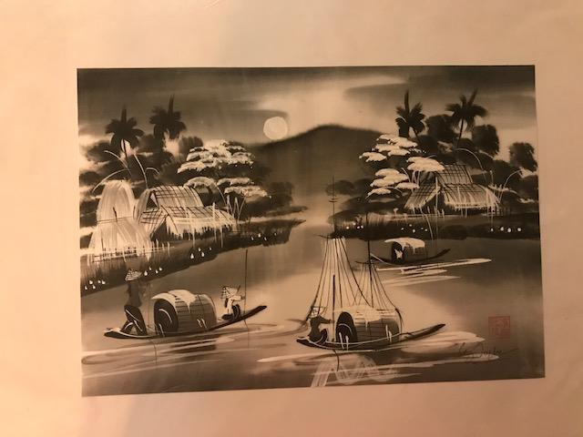 Peinture sur soie paysage du Viet Nam 2€ (Ref : D_16A)