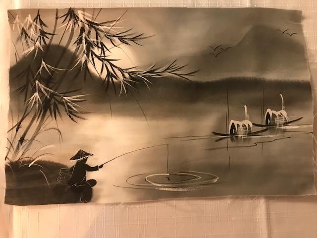 Peinture sur soie paysage du Viet Nam 2€ (Ref : D_16B)