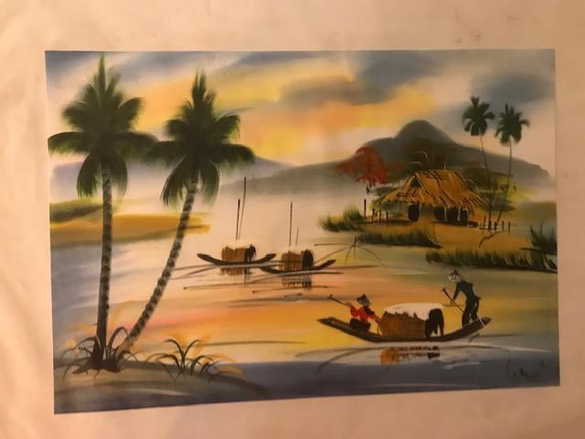 Peinture sur soie paysage du Viet Nam 2€ (Ref : D_16C)