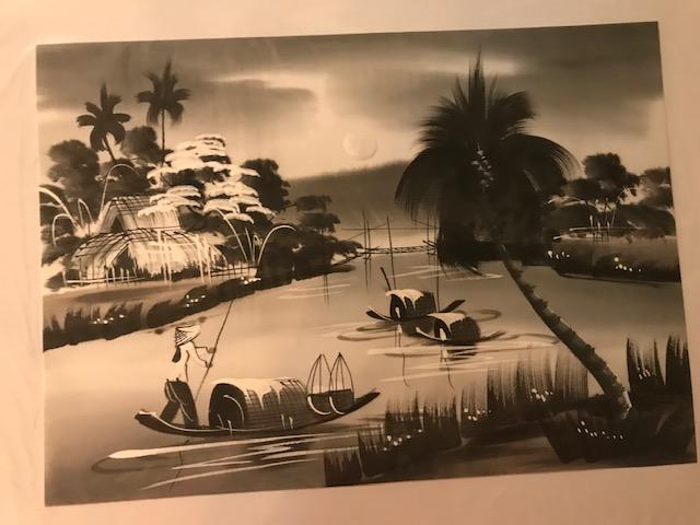 Peinture sur soie paysage du Viet Nam 2€ (Ref : D_16D)