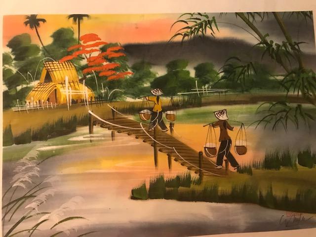 Peinture sur soie paysage du Viet Nam 2€ (Ref : D_16E)