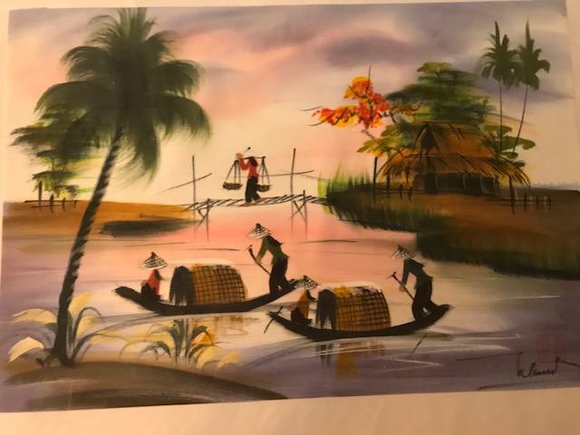 Peinture sur soie paysage du Viet Nam 2€ (Ref : D_16F)