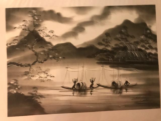 Peinture sur soie paysage du Viet Nam 2€ (Ref : D_16G)