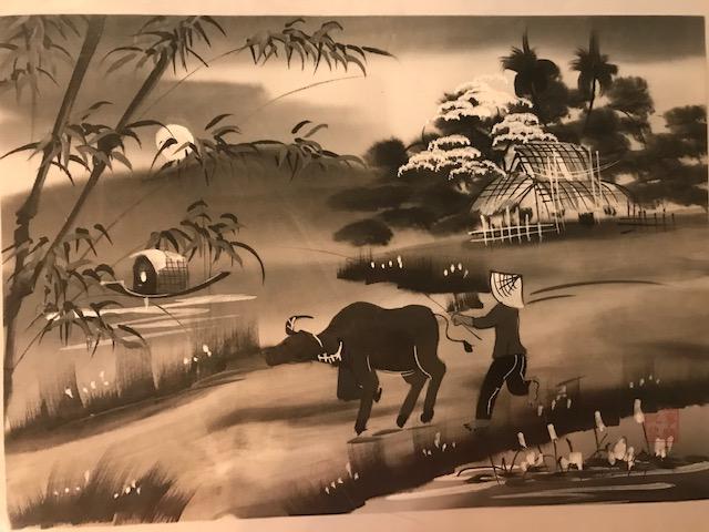 Peinture sur soie paysage du Viet Nam 2€ (Ref : D_16H)