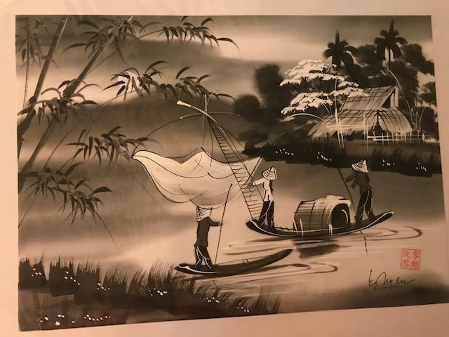 Peinture sur soie paysage du Viet Nam 2€ (Ref : D_16I)