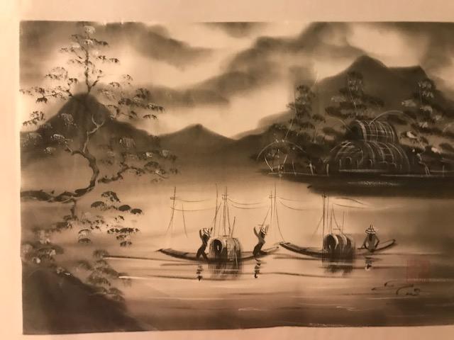 Peinture sur soie paysage du Viet Nam 2€ (Ref : D_16K)