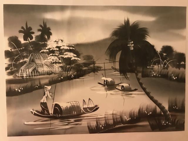 Peinture sur soie paysage du Viet Nam 2€ (Ref : D_16M)