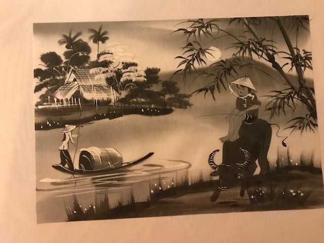 Peinture sur soie paysage du Viet Nam 2€ (Ref : D_16N)